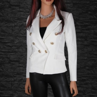 ELEGANT SLIM-FITTED LADIES BLAZER JACKET WITH GOLDEN BUTTONS WHITE