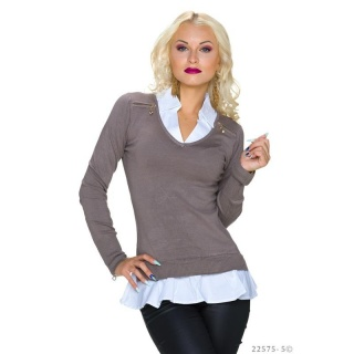 ELEGANT FINE-KNITTED 2-IN-1 BLOUSE-PULLOVER SWEATER TAUPE/WHITE
