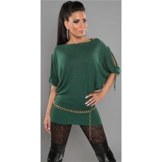 ELEGANT FINE-KNITTED LONG SWEATER WITH BATWING SLEEVES GREEN