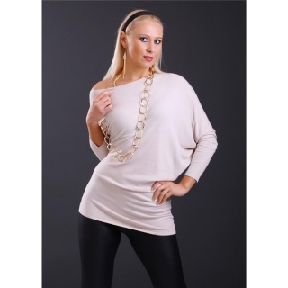 ELEGANT FINE-KNITTED LONG SWEATER WITH BATWING SLEEVES BEIGE