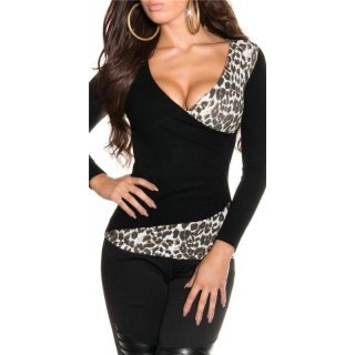 ELEGANTER FEINSTRICK-PULLOVER IN WICKEL-OPTIK SCHWARZ/LEOPARD
