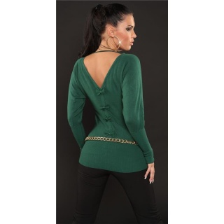 ELEGANT FINE-KNITTED SWEATER WITH BATWING SLEEVES GREEN