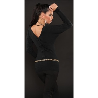 ELEGANT FINE-KNITTED SWEATER WITH BATWING SLEEVES BLACK