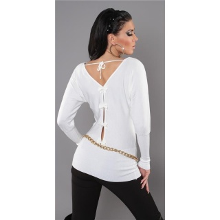 ELEGANT FINE-KNITTED SWEATER WITH BATWING SLEEVES WHITE