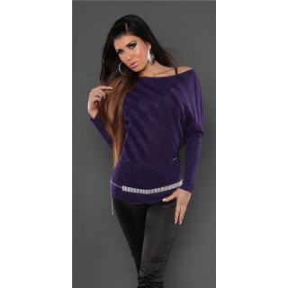 ELEGANT FINE-KNITTED SWEATER WITH GLITTER PURPLE