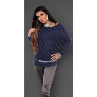 ELEGANT FINE-KNITTED SWEATER WITH GLITTER NAVY