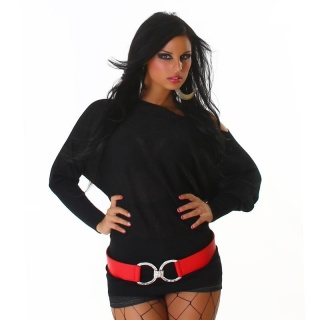 PRECIOUS FINE-KNITTED SWEATER WITH GLITTER BLACK