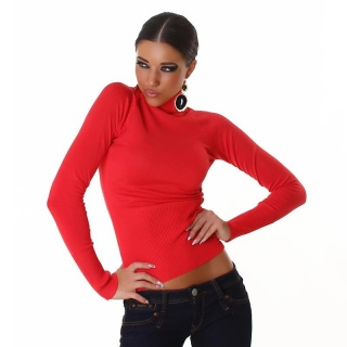 ELEGANT FINE-KNITTED POLO-NECK SWEATER APRICOT