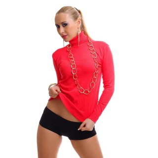 ELEGANT FINE-KNITTED SWEATER POLO -NECK SWEATER CORAL