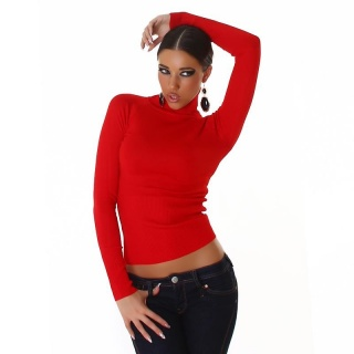 ELEGANT FINE-KNITTED POLO-NECK SWEATER RED