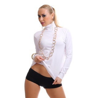 ELEGANT FINE-KNITTED SWEATER POLO-NECK SWEATER WHITE
