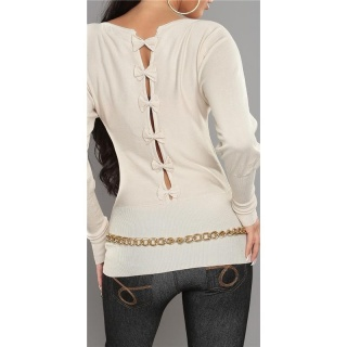 ELEGANT FINE-KNITTED SWEATER WITH BOWS AT THE BACK BEIGE