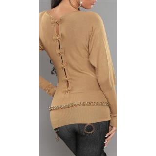 ELEGANT FINE-KNITTED SWEATER WITH BOWS AT THE BACK CAMEL