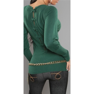 ELEGANT FINE-KNITTED SWEATER WITH BOWS AT THE BACK GREEN