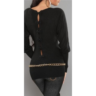ELEGANT FINE-KNITTED SWEATER WITH BOWS AT THE BACK BLACK