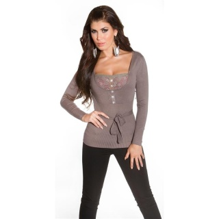 ELEGANT FINE-KNITTED SWEATER WITH FINE LACE CAPPUCCINO