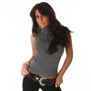 ELEGANT POLO-NECK SLIPOVER DARK GREY