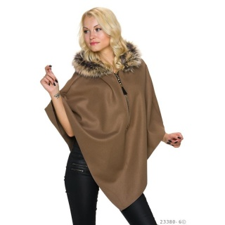 ELEGANT FELT PONCHO CAPE WITH FAKE FUR COLLAR CAPPUCCINO