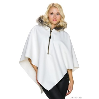 ELEGANT FELT PONCHO CAPE WITH FAKE FUR COLLAR WHITE