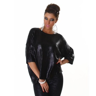 ELEGANT SHINY KNITTED SWEATER IN BOXY STYLE BLACK