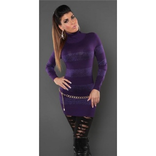 FASHIONABLE FINE-KNITTED POLO-NECK LONG SWEATER WITH GLITTER PURPLE
