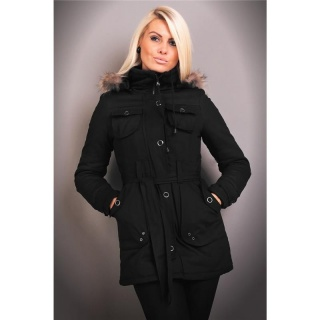 EXCLUSIVE SHORT COAT WITH HOOD FAKE FUR BLACK