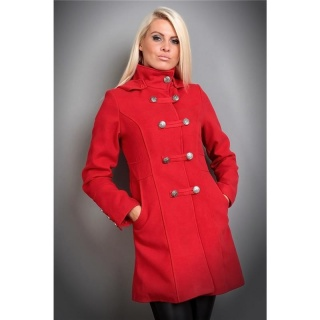 EXCLUSIVE SHORT COAT WITH HOOD RED