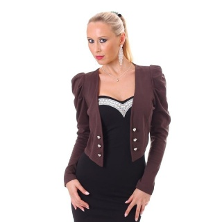 ELEGANT LONG-SLEEVED EVENING BOLERO LITTLE JACKET BROWN