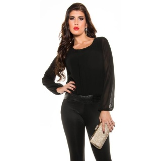 ELEGANT LONG-SLEEVED OVERALL JUMPSUIT WITH CHIFFON BLACK