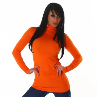 ELEGANTER LONG-PULLOVER/MINIKLEID MIT ROLLKRAGEN ORANGE