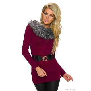 ELEGANT KNITTED LONG SWEATER WITH FAKE FUR INCL. BELT WINE-RED