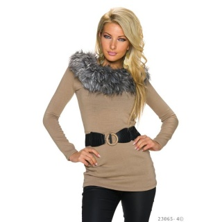 ELEGANT KNITTED LONG SWEATER WITH FAKE FUR INCL. BELT KHAKI
