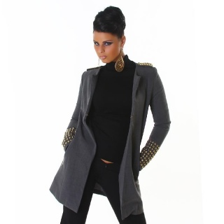 ELEGANT COAT WITH RIVETS AT CUFFS AND SHOULDER GREY