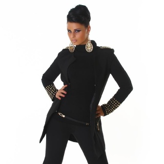 ELEGANT COAT WITH RIVETS AT CUFFS AND SHOULDER BLACK