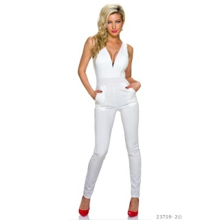 ELEGANT OVERALL JUMPSUIT WITH WIDE STRAPS WHITE