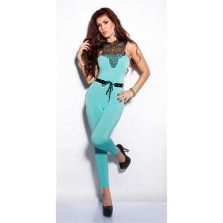 ELEGANT OVERALL JUMPSUIT WITH LACE AND BELT MINT GREEN
