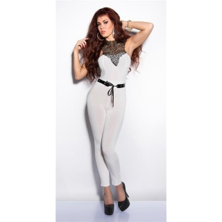 ELEGANT OVERALL JUMPSUIT WITH LACE AND BELT WHITE
