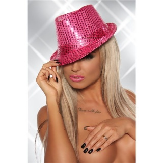 STYLISH SEQUINED PARTY HAT GOGO CLUBWEAR FUCHSIA