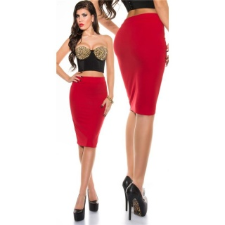 ELEGANT PENCIL STRETCH SKIRT RED