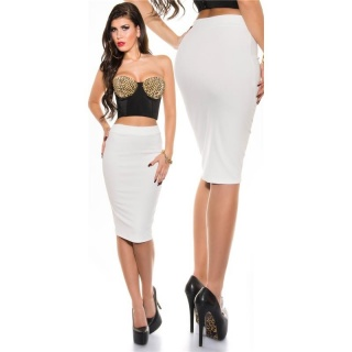ELEGANT PENCIL STRETCH SKIRT WHITE