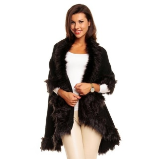 ELEGANT PONCHO CAPE WRAP WITH NOBLE FAKE-FUR BLACK