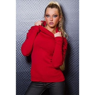 STYLISH SWEATER WITH PUFF SLEEVES RED