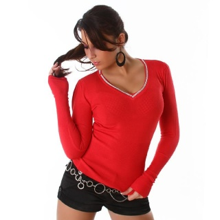 ELEGANT SWEATER WITH RHINESTONES RED