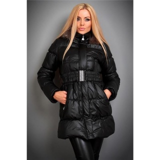 EXCLUSIVE REDIAL QUILTED COAT WITH FAKE FUR BELT BLACK