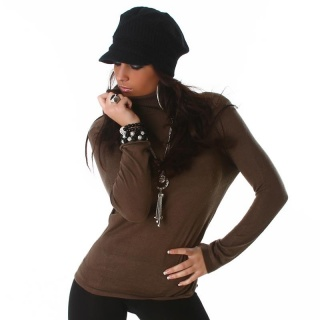 ELEGANT FINE-KNITTED SWEATER POLO-NECK SWEATER BROWN