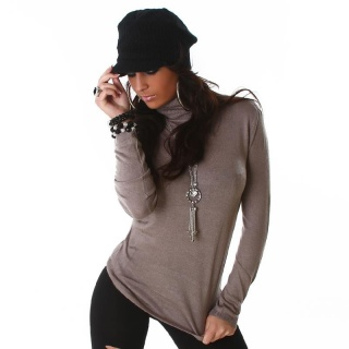 ELEGANT FINE-KNITTED POLO-NECK SWEATER CAPPUCCINO