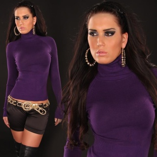 ELEGANT FINE-KNITTED POLO-NECK SWEATER DARK PURPLE