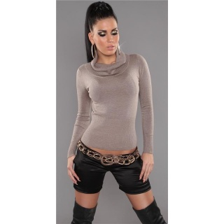 PRECIOUS FINE-KNITTED POLO-NECK SWEATER WITH GLITTER CAPPUCCINO