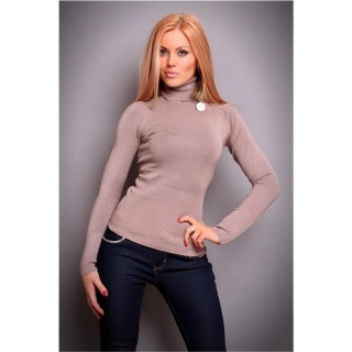 ELEGANT POLO-NECK SWEATER CAPPUCCINO