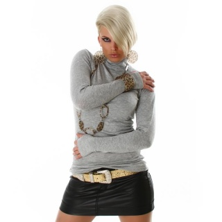 ELEGANT POLO-NECK SWEATER LIGHT GREY